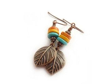 Copper Leaf Earrings - Mykonos Greek Beads - Orange Yellow Blue - Dangle Earrings - Boho Earrings