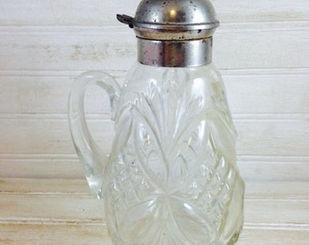 Vintage Metal Topped Cut Glass Syrup Pitcher