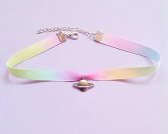 Rainbow Choker with Planet Charm