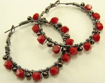 Gunmetal and Swarovski Red Coral Crystal Hoop  Wire Wrapped Earrings, Wire Wrapped Hoops