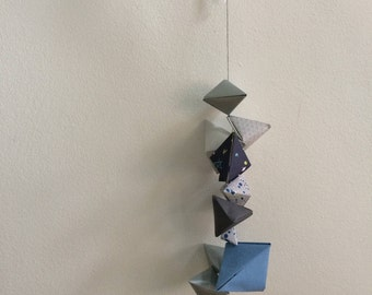 Origami Wall Hanger || Blue Silver