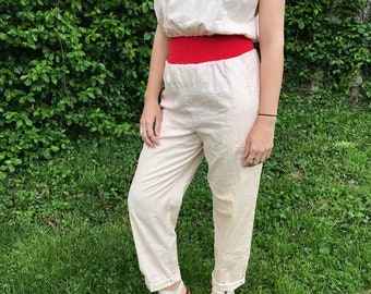 Vintage Red Striped Pants Romper// Jumper// Small// 70s// 80s// costume// tall// summer// spring// womens// unique// short sleeve// jumpsuit