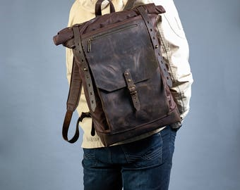 Brown Roll top canvas backpack. Canvas backpack mens. Waxed canvas leather roll top backpack. Laptop canvas backpack. Travel canvas backpack