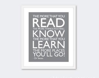 Read Learn Know Print - Nursery Art Print - Typography Poster - Quote Art Print - Nursery Art - Nursery Decor - Grey Art