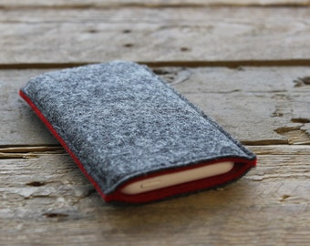 100% Wool Felt iPhone Sleeve/Case/Cover - Mottled Dark Grey and Red