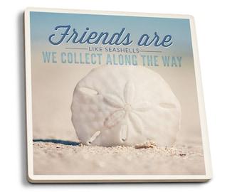 Friends are Like Seashells Sand Dollar - LP Photo (Set of 4 Ceramic Coasters)