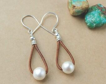 Pearl and Leather Earrings - Gift Under 30 - Gift Idea For Women - Casual Earrings - Freshwater Pearl Earrings - Leather Hoop Earrings