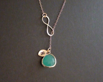 SALE - Personalized Necklace, Birthstone necklace, Infinity, Mint Bezel, Initial Lariat Necklace, Bridesmaids Gift, Mother's Jewelry