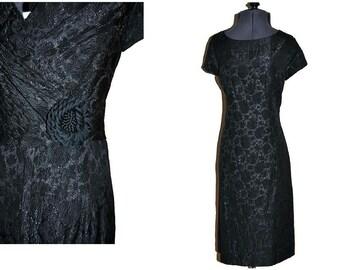 "Vintage Black Dress // Late 1950's Early 1960's Wiggle Dress Cross Over Back // Waist 32"" Medium"