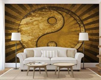 Wall Mural Japanese, Wall Mural Gold, Wallpaper Yin And Yang, Wall Mural Symbol