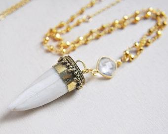 Baby Boho Necklace, Boho Necklace, Small Bone Necklace, Small Horn Necklace, Horn Necklace, Boho Horn Necklace, Long Boho Necklace, Pyrite