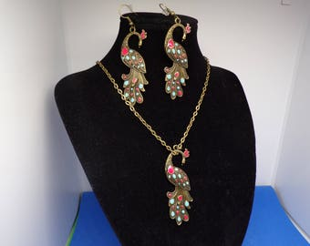 Adornment necklace and earrings bronze earrings with Peacock pendant