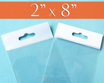 """300 2x8 Inch HANG TOP Clear Resealable Cello Bags Packaging for Hanging on Display or Peg (2"""" x 8"""")"""