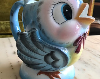 This Treasure has been RESERVED for SARAH - SOLD-  Vintage Lefton Bluebird Music Box Pitcher