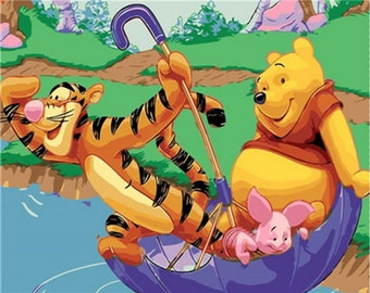 """Winnie the pooh Paint by Number Kit Tigger DIY Painting on canvas 16*20"""" paint coloring DIY Gift Paintings for children room Decor idea"""