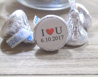 I love You Hershey Kiss Sticker with Date