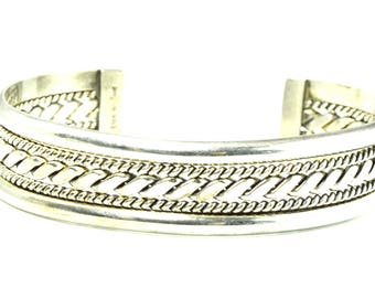 Sterling Silver Tahe Signed Five Part Bangle Cuff Bracelet 16mm 6.75""