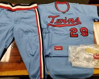 Size 44/large Minnesota twins team issued sample jersey uniform Rod Carew 70s rawlings jersey
