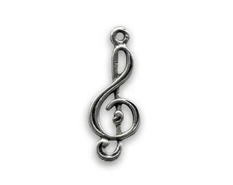 Treble clef silver pendent 24 x 10 mm