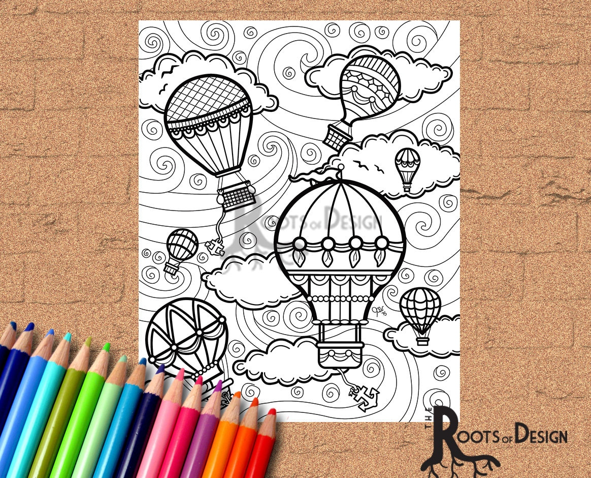 INSTANT DOWNLOAD Coloring Page Hot Air Balloons Vintage /
