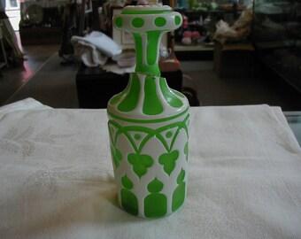 Lovely small decanter or large perfume bottle.  Very interesting design