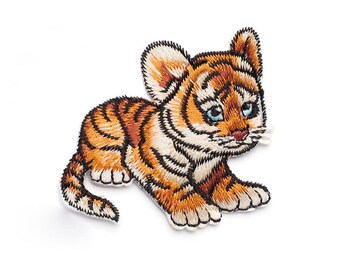 1 piece Iron-on Embroidered tiger Appliques,Adhesive Embroidered flower,Patches For Dress Supplies,Hair Flower,for kids (159-73)