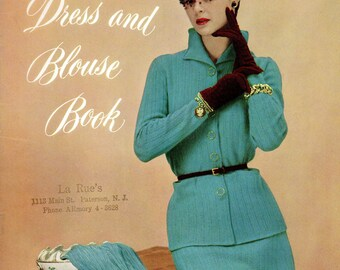 1940s Vintage Fashion Dress Crochet Knit Sewing Pattern Hollywood Glamour Style Botany DIY How To Instruction Booklet