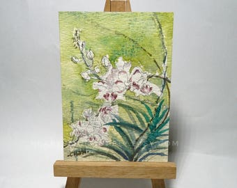 Original Aceo, White n purple Orchids Flower, Watercolor Painting flora, atc, id1712123