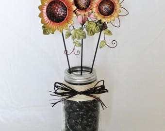 Metal Sunflowers  in Vintage Canning Jar Decor