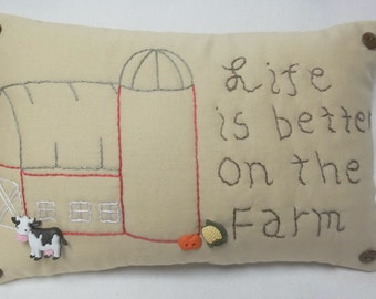 Life Is Better On The Farm Embroidered Mini Pillow Barn Shelf Pillow
