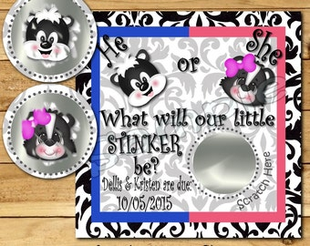Gender Reveal scratch off cards 12 Precut Skunk Baby Pregnancy announcement cards gender announcement Baby boy Baby girl Little Stinker tags