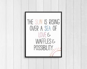 "Parks and Recreation Inspired Leslie Knope 8x10 Watercolor Print ""The Sun is Rising Over a Sea of Love and Waffles and Possibility"""