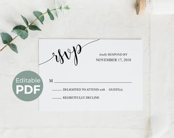 rsvp card etsy. Black Bedroom Furniture Sets. Home Design Ideas