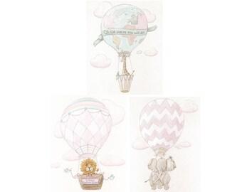 Travel Theme Nursery, Baby Animal Prints, Blush Pink, Soft Vintage Colors, Pink and Gray Safari, Set Of 3 Fine Art Prints, Unframed, 6 Sizes