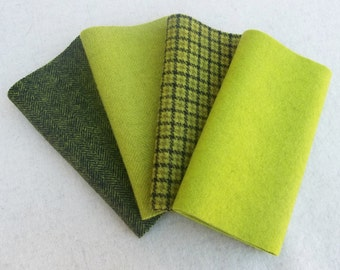 """Hand Dyed Felted Wool, APPLE GREEN, Four 6.5"""" x 16"""" pieces in Crisp Yellow Green, Perfect for Rug Hooking, Applique and Crafts"""