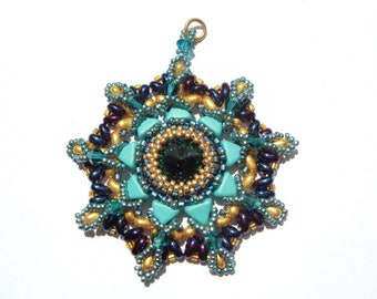 """Pendant """"starburst pendant"""" with swarovski cabochon, seed beads, kheops and twin beads"""