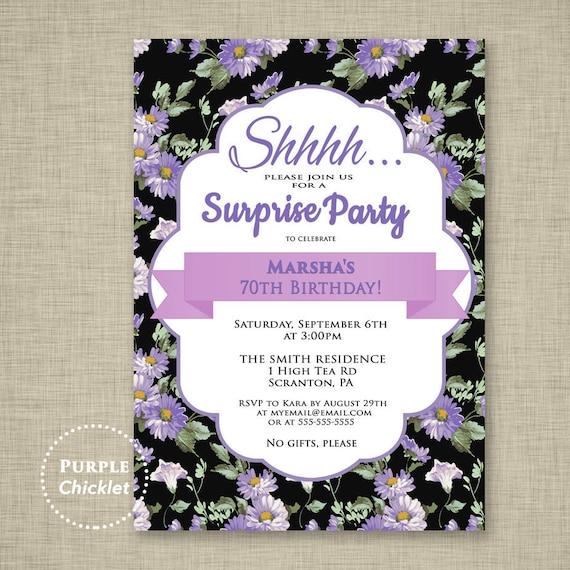Surprise invitation purple 70th birthday party invitation stopboris Choice Image