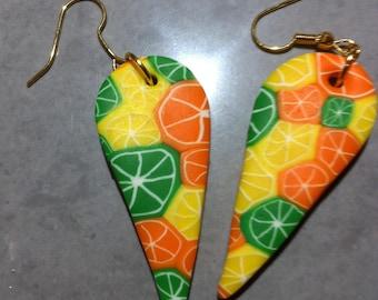 """Citrus"" Fimo drop shape earrings"