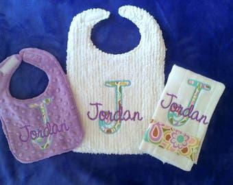 Toddler Bib, Infant Bib and Burpie Gift Set