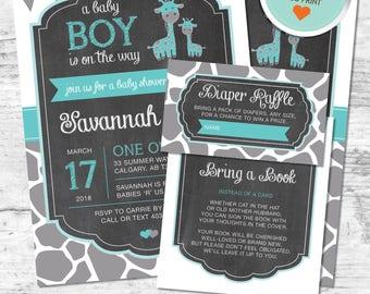 Giraffe Baby Shower Invitation, Giraffe Invitation, Teal, Gray, Flags, Spots, Chalkboard | DIY