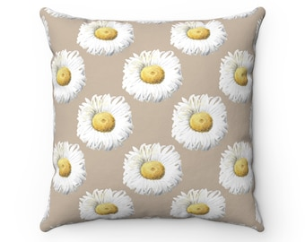 White Daisies Pillow Cover - Floral Pillow - Spring Decor - Floral Pattern - Floral Sofa Pillow - Daisy Throw Pillow Cover