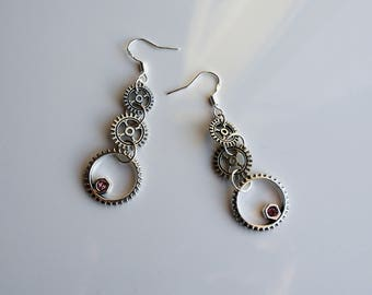 Cog Steampunk Earrings, Steampunk jewellery, Cog theme, Silver cog and chain Earrings, Silver steampunk gear earrings, Steampunk cog theme