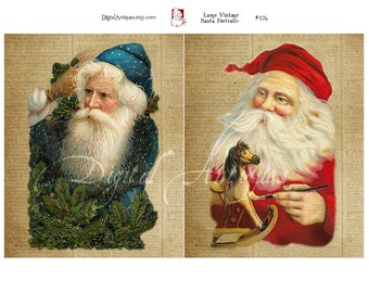 Vintage Christmas Santa Portaits Large Printable Instant Download