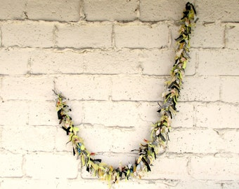Torn Fabric Garland, Lemon Yellow Black Swag Folk Art Ribbon Fabriks FREE SHIPPING by viAnneli, Summer Decor, OOAK Upcycled Repurpose Fabric