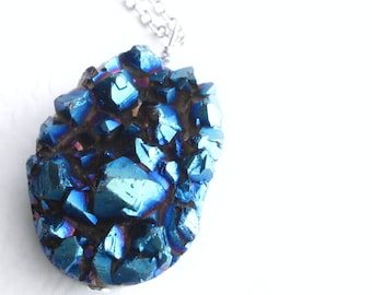 Metallic Blue Druzy Necklace, Titanium Coated Quartz Crystal Pendant, Raw Stone Jewelry