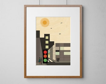City Street Cityscape Art Print | Wood Wall Art | Birch Wood |  A3 or 12 x 16 Inch | Free Shipping Worldwide