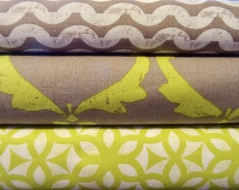 Ty Pennington Fabric Bundle, Impressions in Chartreuse and Gray, Full Yard Set, 3 Yards Total