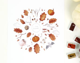 I Love Autumn A4 Illustration Print