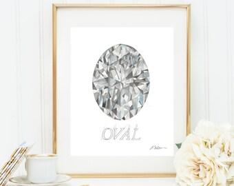 Oval Diamond Watercolor Rendering printed on Paper