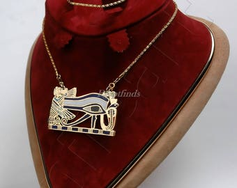 Egyptian Solid Brass enamelled eye of horus necklace